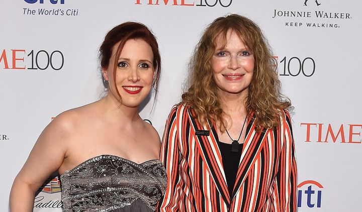 Dylan Farrow (left) with her mother, Mia Farrow, at Time's 100 Gala on April 26, 2016, in New York.