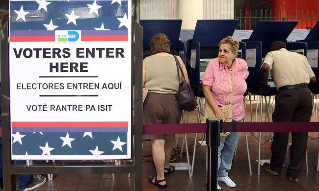 Voters at the polls for early voting at the Miami-Dade Government Center on October 21, 2004 in Miami, Florida.