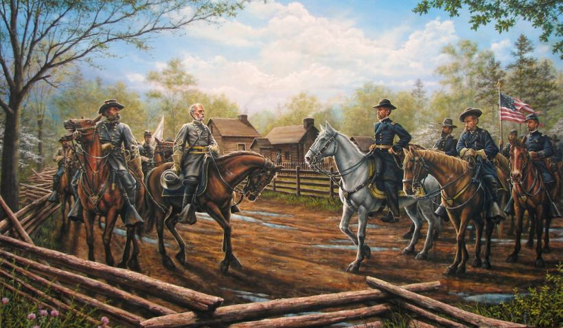 Johnson and Sherman meeting for the first time on the Hillsboro Road with Bennett Place in the background, by Dan Nance.