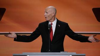 Florida governor Rick Scott speaks at the Republican National Convention in Cleveland, Ohio, U.S. July 20, 2016.   REUTERS/Mike Segar