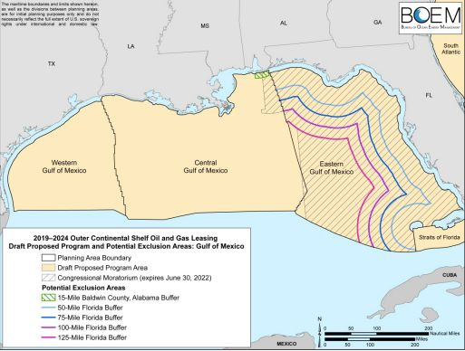 A map included in the Interior Department's draft proposal points to a 125-mile buffer zone off Florida as the most&nbsp