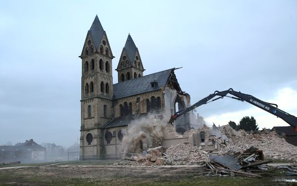 The St. Lambertus church in the village of Immerath is demolished for the expansion of the nearby opencast brown coal mine of