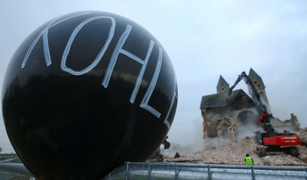 A balloon is seen in protest against the demolition.