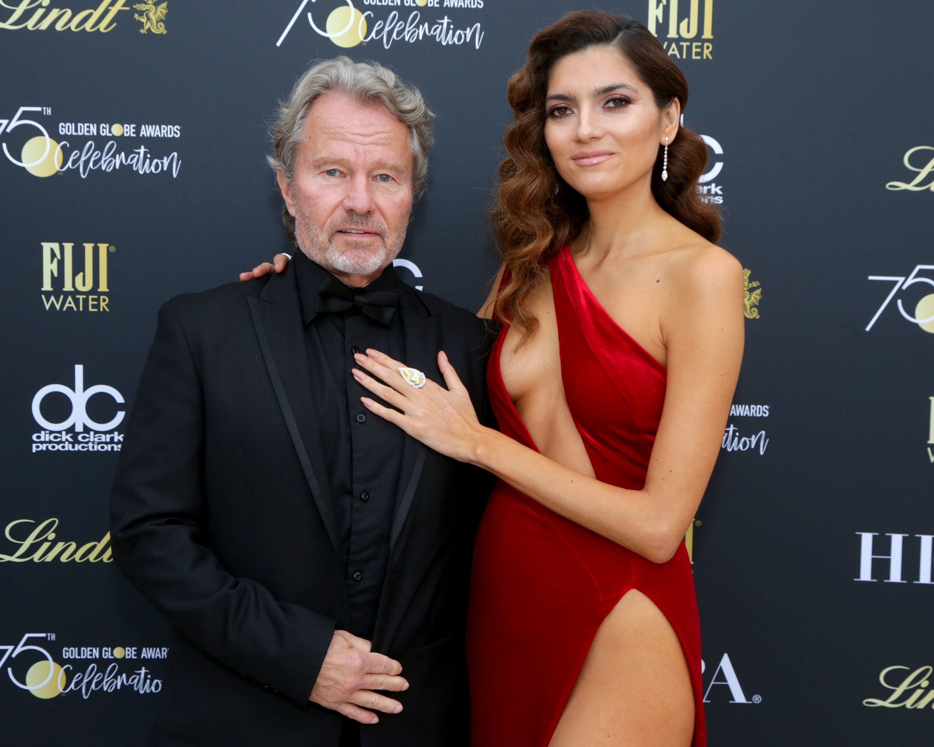 BEVERLY HILLS, CA - JANUARY 07:  Actors John Savage (L) and Blanca Blanco attend the Official Viewing and After Party of The Golden Globe Awards bosted by The Hollywood Foreign Press Association on January 7, 2018 in Beverly Hills, California.  (Photo by Greg Doherty/Getty Images)