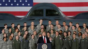 U.S. President Donald Trump delivers remarks to military personnel and families at Joint Base Andrews in Maryland, U.S., September 15, 2017. REUTERS/Yuri Gripas