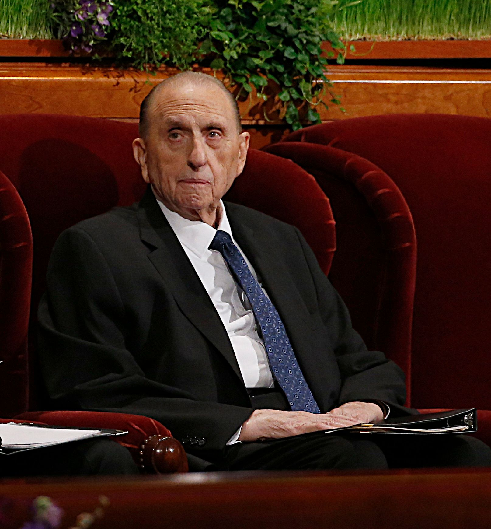 SALT LAKE CITY, UT - APRIL 2: President Thomas Monson, waits for the start of the 186th Annual General Conference of the Church of Jesus Christ of Latter-Day Saints on April 2, 2016 in Salt Lake City, Utah. Mormons from around the world will gather in Salt Lake City to hear direction from church leaders at the two day conference. (Photo by George Frey/Getty Images