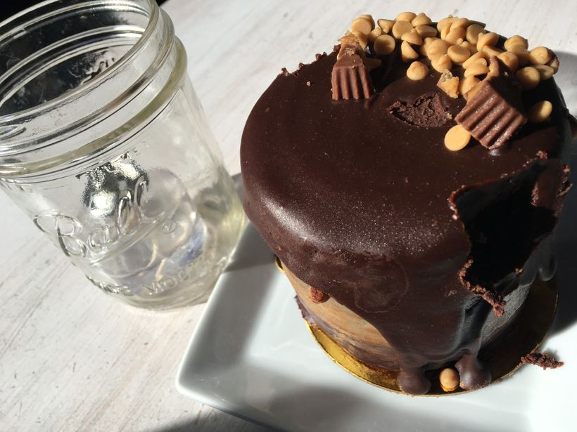 Dark Chocolate Peanut Butter Cake at Carmella's