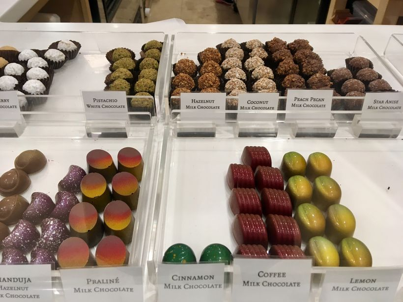 Rows of Chocolate at Christophe Artisan Chocolatier