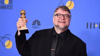 BEVERLY HILLS, CA - JANUARY 07:  Filmmaker Guillermo del Toro, winner of the award for Best Director (Motion Picture) for 'The Shape of Water,' poses in the press room during The 75th Annual Golden Globe Awards at The Beverly Hilton Hotel on January 7, 2018 in Beverly Hills, California.  (Photo by George Pimentel/WireImage)