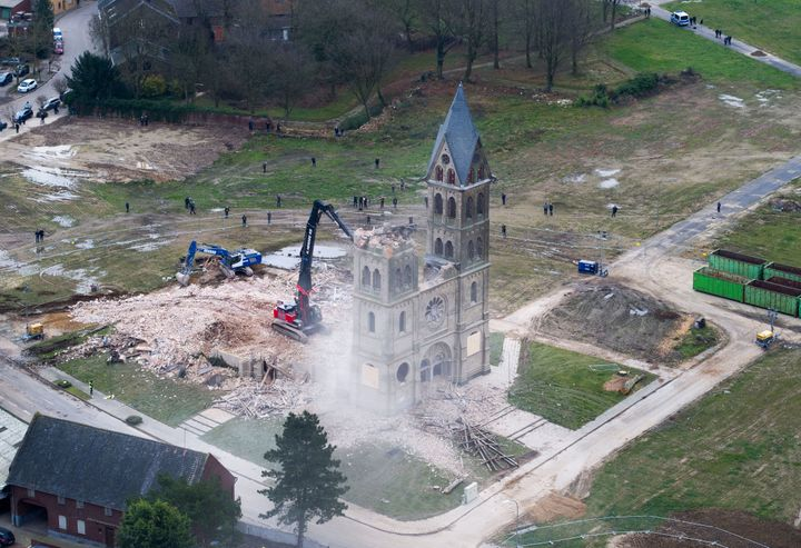 A photo taken by a drone shows the demolition of a church in Immerath, Germany.