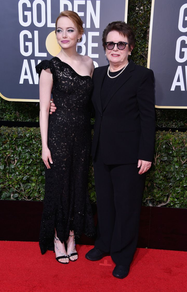 Emma Stone and Billie Jean King on the red carpet at the Golden Globes.