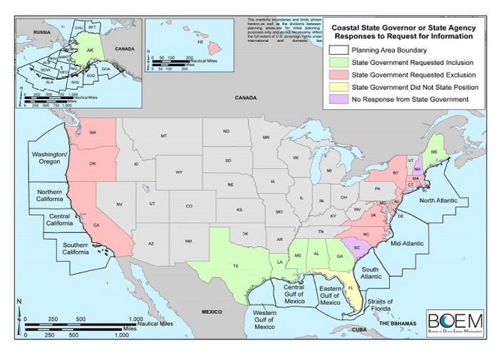 This map, included in Interior Department materials given to congressional stafferson Jan. 8, showed how states respond