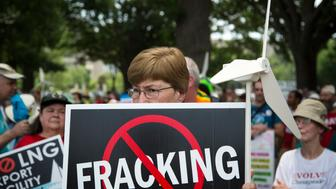Protesters take part in a rally against U.S. fracked gas exports from the proposed Cove Point facility in Maryland, at a demonstration by several environmental organizations and activists, at the National Mall in Washington July 13, 2014. Cove Point, currently under review by the U.S. Federal Energy Regulatory Commission (FERC), is one of about two dozen projects that hope to ship a growing bounty of domestic natural gas to countries in Asia and Europe.  REUTERS/Jonathan Ernst    (UNITED STATES - Tags: POLITICS ENERGY CIVIL UNREST)