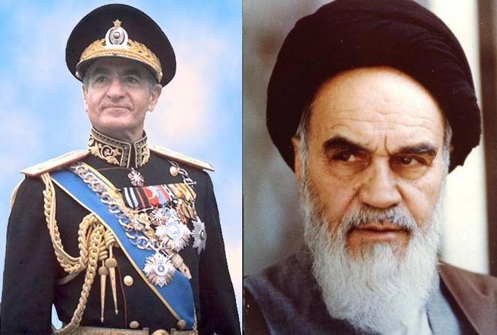 The Shah of Iran Mohammad Reza Pahlavi and the Ayatollah Khomeini