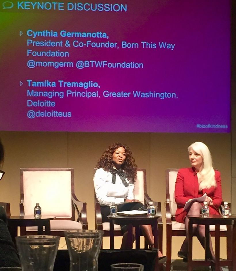 Cynthia Bissett Germanotta, President and Co-founder of the Born This Way Foundation and Tamika Tremaglio, Managing Principal