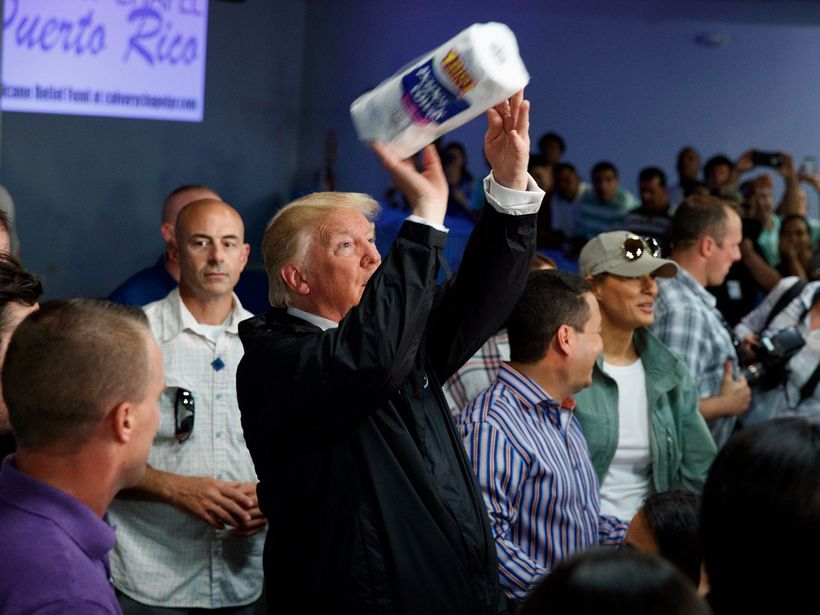 """President Donald Trump throws paper towels to hurricane victims in Puerto Rico. <a rel=""""nofollow"""" href=""""http://www.businessin"""