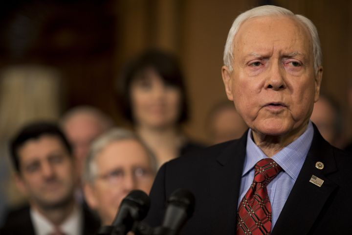 Sen. Orrin Hatch (R-Utah) speaks at a Capitol celebration of the tax bill's passage.