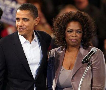 President Barack Obama pictured with media mogul Oprah Winfrey.