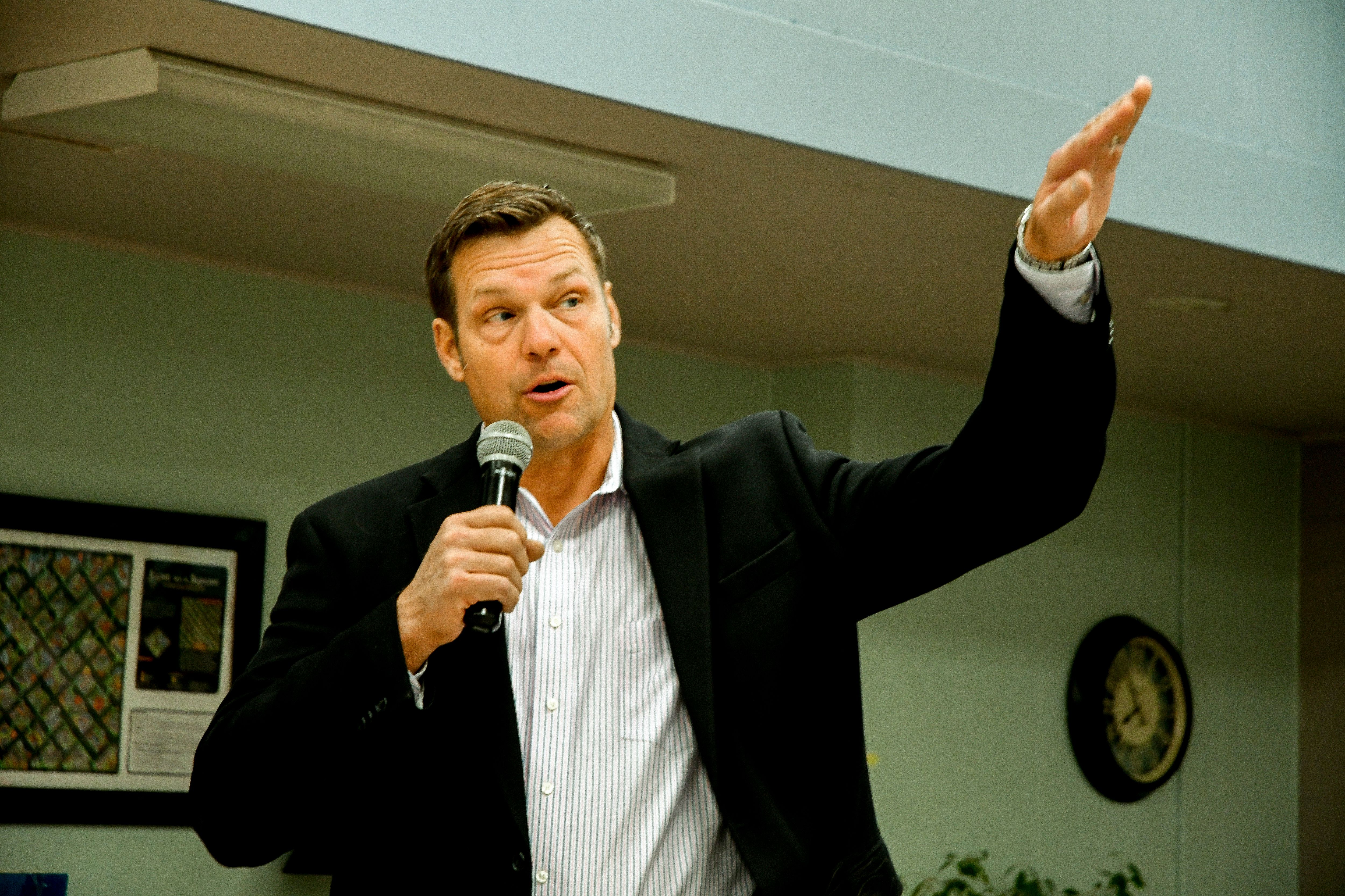 American politician Kansas Secretary of State Kris Kobach as he speaks during a fundraiser for his gubernatorial campaign at an unidentified senior citizens center, Emporia, Kansas, October 28, 2017. (Photo by Mark Reinstein/Corbis via Getty Images)