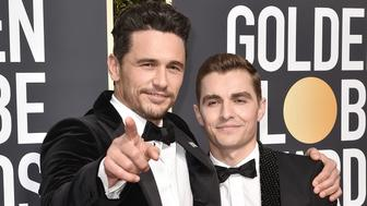 BEVERLY HILLS, CA - JANUARY 07:  James Franco and David Franco attend the 75th Annual Golden Globe Awards - Arrivals at The Beverly Hilton Hotel on January 7, 2018 in Beverly Hills, California.  (Photo by David Crotty/Patrick McMullan via Getty Images)