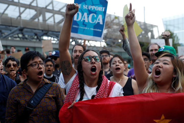 Demonstrators chant during a rally against the rescission of the Deferred Action for Childhood Arrivals program at the San Fr