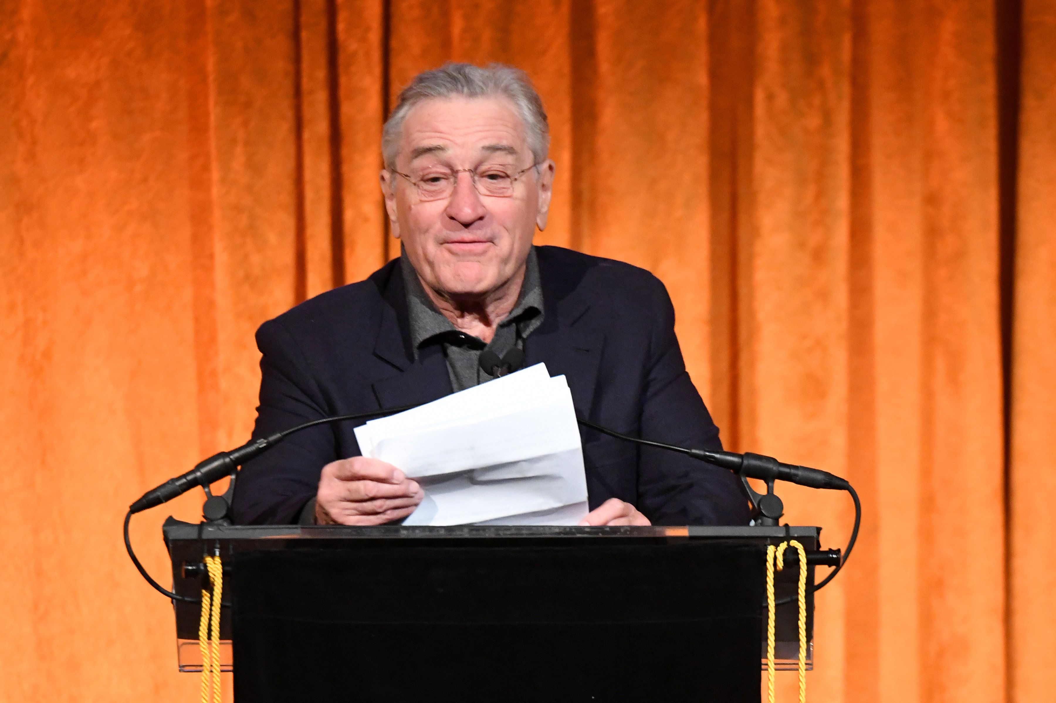 NEW YORK, NY - JANUARY 09:  Robert De Niro speaks onstage during the National Board of Review Annual Awards Gala at Cipriani 42nd Street on January 9, 2018 in New York City.  (Photo by Dimitrios Kambouris/Getty Images for National Board of Review)