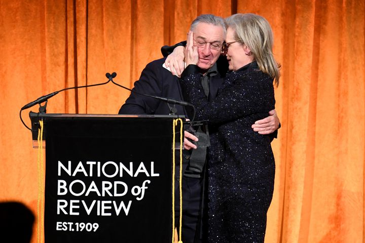 Robert De Niro introduced Meryl Streep at the National Board of Review Annual Awards Gala, where he also slammed Preside