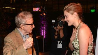 LOS ANGELES, CA - JUNE 14:  Writer/director Woody Allen and actress Greta Gerwig attend the after party for 2012 Los Angeles Film Festival premiere of 'To Rome With Love' sponsored by Virgin America at Nokia Theatre L.A. LIVE Event Deck on June 14, 2012 in Los Angeles, California.  (Photo by Lester Cohen/WireImage)