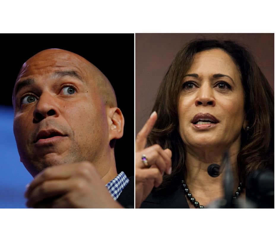 Sen. Cory Booker (D-N.J.), left, and Sen. Kamala Harris (D-Calif.), right, have been appointed to the Senate Judiciary C