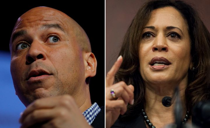 Sen. Cory Booker (D-N.J.), left, andSen. Kamala Harris (D-Calif.), right, have been appointed to the Senate Judiciary C