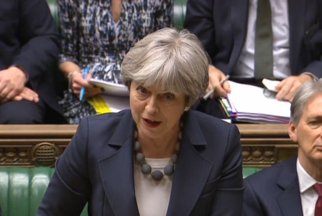 Theresa May joked with James Cleverly during