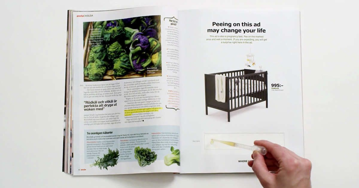 The ad works as an at-home pregnancy