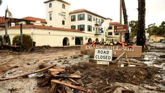 MONTECITO, CA - JANUARY 9: Mud and debris gather outside the Montecito Inn along Olive Mill Road in Montecito after a major storm hit the burn area January 9, 2018 in Montecito, California. (Photo by Wally Skalij/Los Angeles Times via Getty Images)