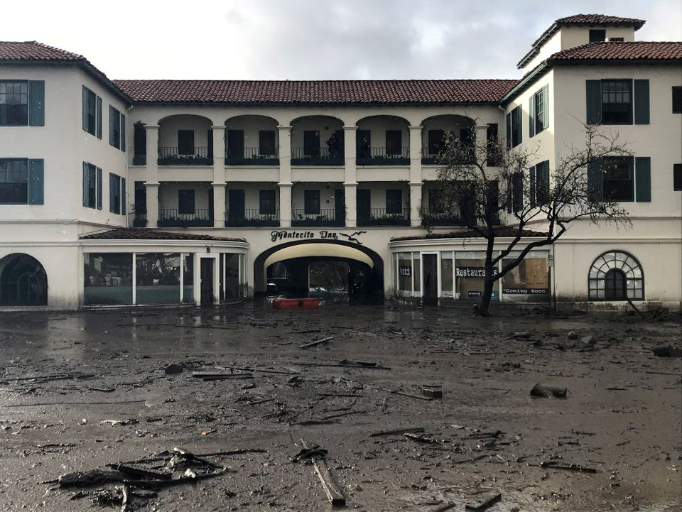 Water, mud and debris engulfed the first floor on the Montecito Inn in Montecito, California.