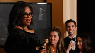 BEVERLY HILLS, CA - JANUARY 07:  75th ANNUAL GOLDEN GLOBE AWARDS -- Pictured:  Oprah Winfrey, recipient of the Cecil B. DeMille Award, poses in the press room at the 75th Annual Golden Globe Awards held at the Beverly Hilton Hotel on January 7, 2018.  (Photo by Trae Patton/NBC/NBCU Photo Bank via Getty Images)