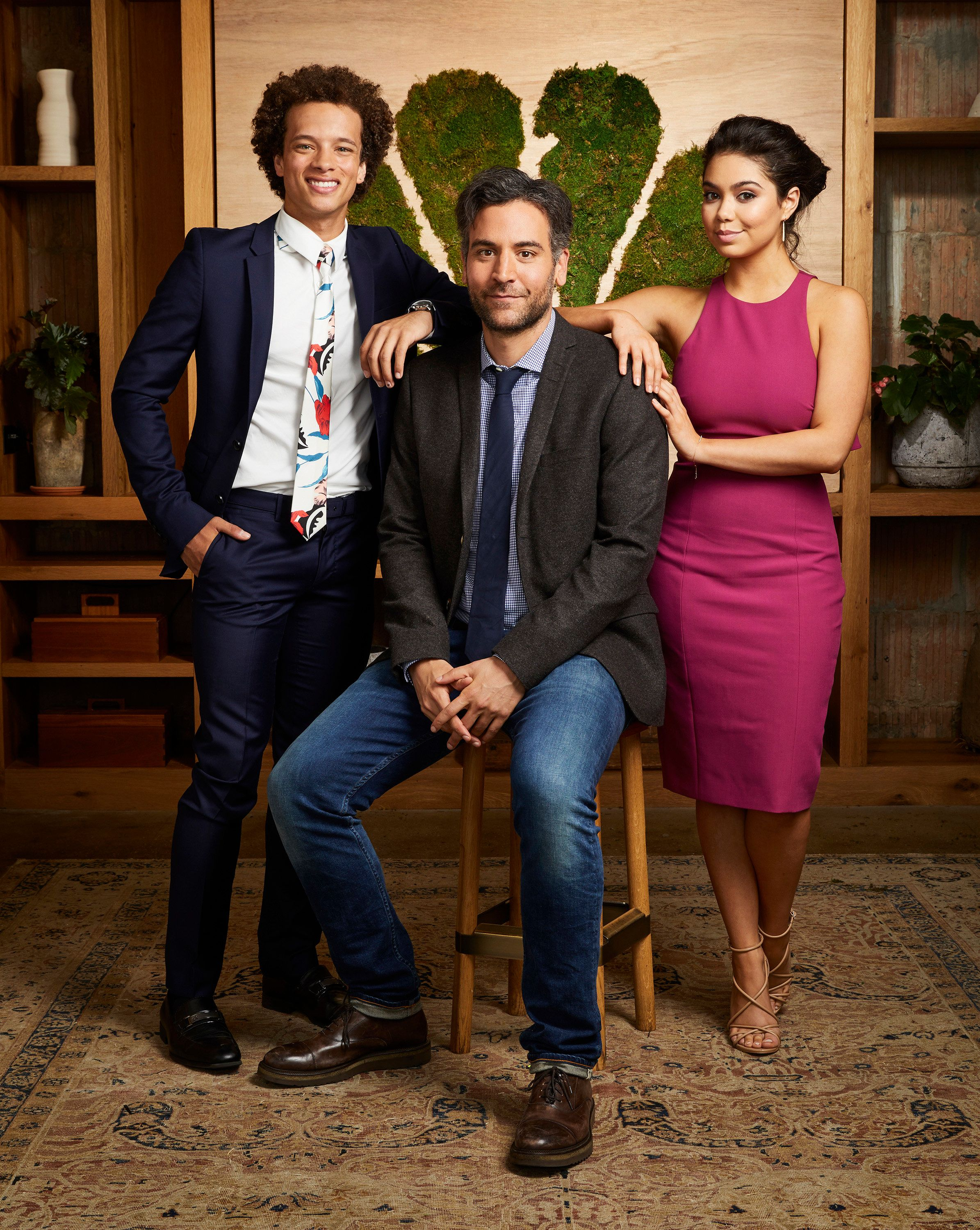 NBCUNIVERSAL EVENTS -- New Talent Mixer, NBC Portrait Studio -- Pictured: (l-r)  Damon J. Gillespie, Josh Radnor, Auli'l Cravalho, 'Rise'-- (Photo by: Patrick Randak/NBC/NBCU Photo Bank via Getty Images)