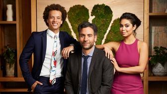 NBCUNIVERSAL EVENTS -- New Talent Mixer, NBC Portrait Studio -- Pictured: (l-r)  Damon J. Gillespie, Josh Radnor, Auli'l Cravalho, 'Rise'-- (Photo by: Patrick Randak/NBC/NBCU Photo Bank via Getty Images)
