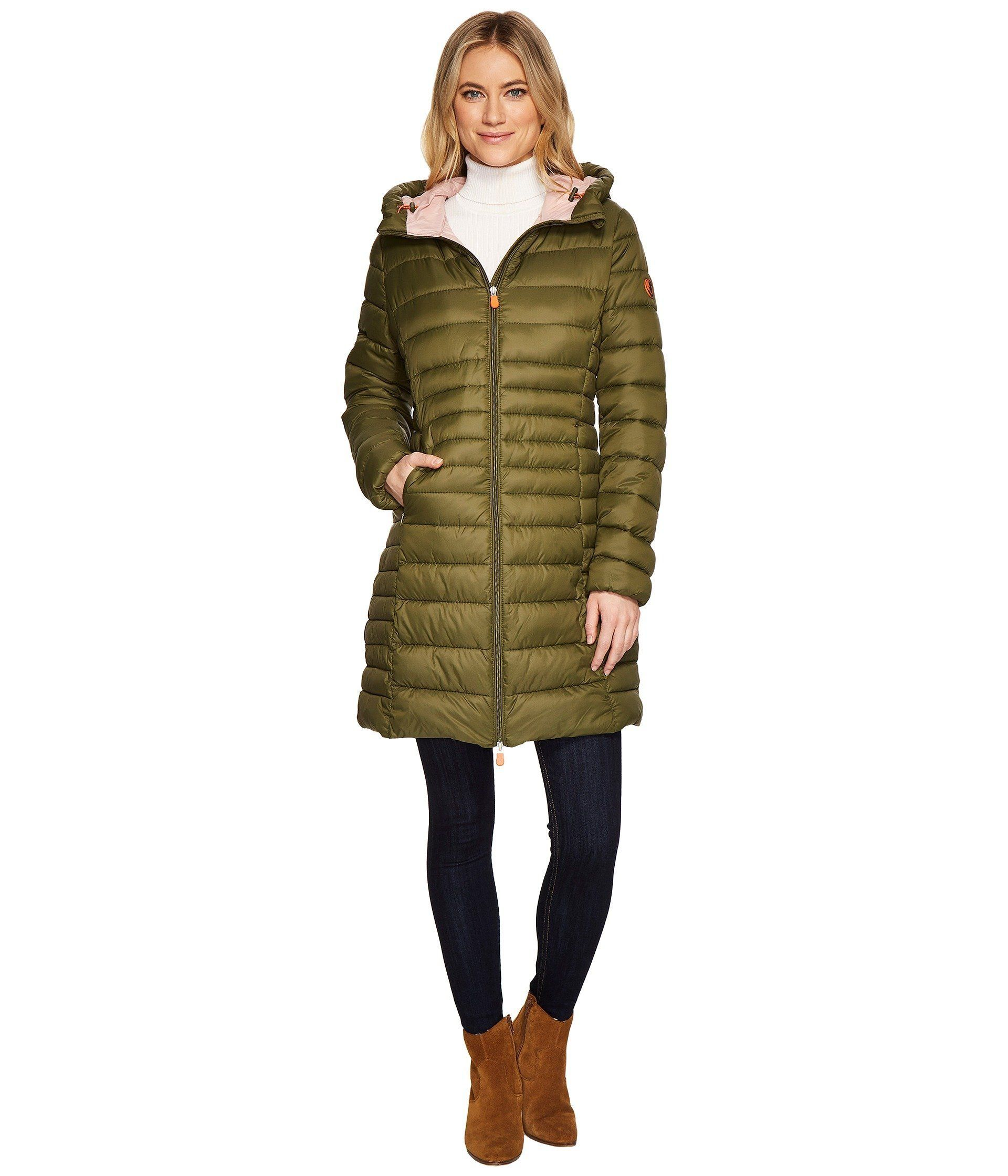 "Vegan brand, <a href=""https://www.zappos.com/p/save-the-duck-long-basic-nylon-coat-dusty-olive/product/8968591/color/3543"" ta"