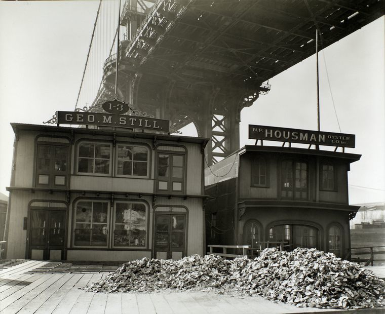 Floating oyster houses. South Street and Pike Slip, Manhattan. (date not found) The Miriam and Ira D. Wallach Division of Art