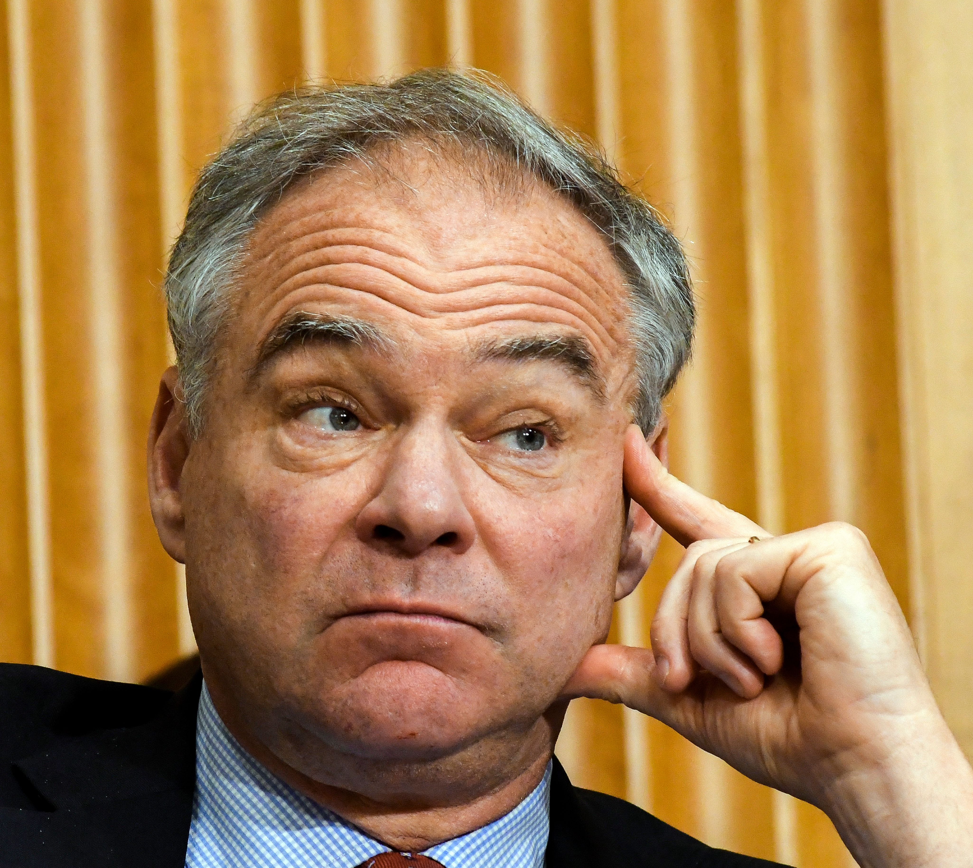 Close-up of American politician US Senator (and former Governor of Virginia) Tim Kaine as he listens to testimony during a Senate subcommittee hearing, Washington DC, June 13, 2017. (Photo by Mark Reinstein/Corbis Via Getty Images)