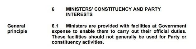 The key passage from the Ministerial Code, approved on