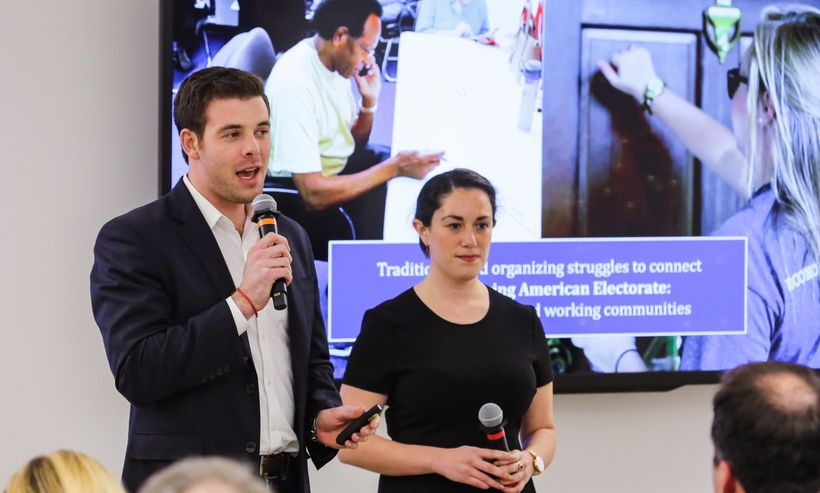 Michael, with cofounder Shola Farber, speaking about digital strategy in San Francisco.