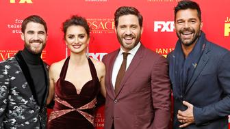 HOLLYWOOD, CA - JANUARY 08: (L-R) Darren Criss, Penelope Cruz, Edgar Ramirez, and Ricky Martin attend the premiere of FX's 'The Assassination Of Gianni Versace: American Crime Story' at ArcLight Hollywood on January 8, 2018 in Hollywood, California. (Photo credit should read P. Lehman / Barcroft Media via Getty Images)
