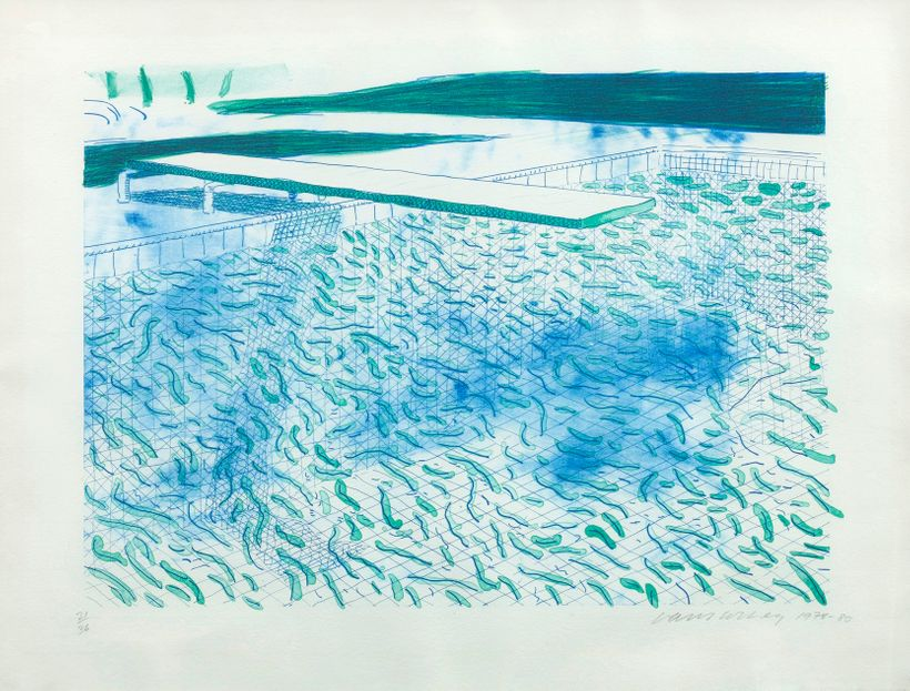 David Hockney, <em>Lithograph of Water Made of Lines and a Green Wash</em>, 1978-80, Lithograph on white TGL handmade paper,