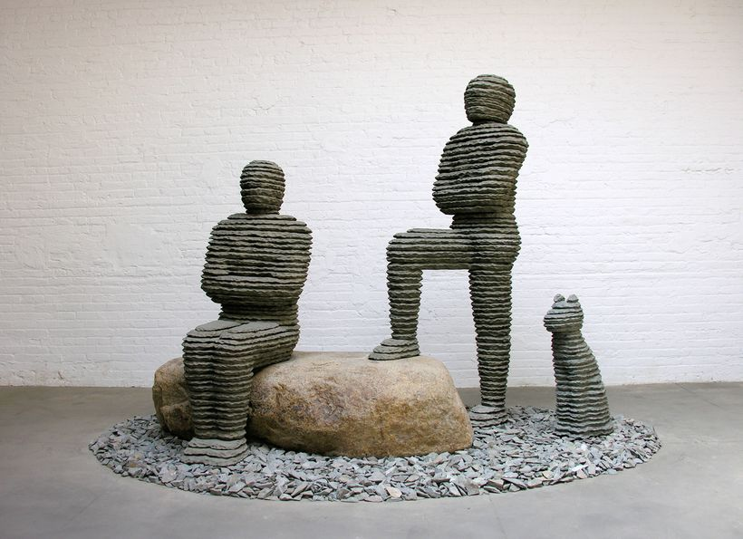 Boaz Vaadia, <em>Asa & Yehoshafat with Dog</em>, 2008, bronze, bluestone and boulder, 86 x 120 x 80 in. Edition of 5 + 2