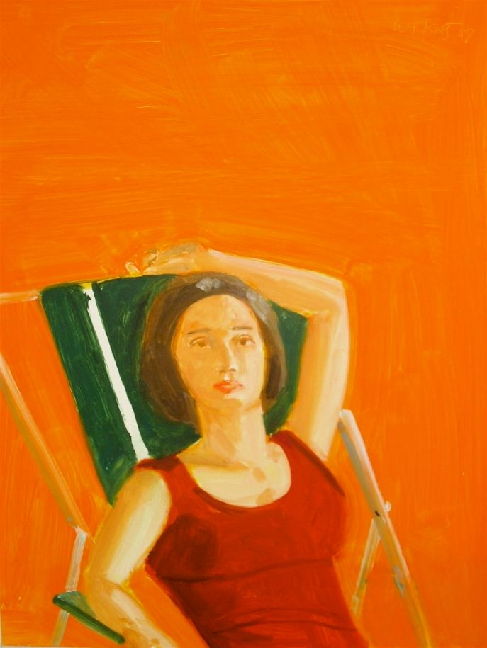 Alex Katz, <em>Vivien with Orange</em>, 2007, Oil on board, 16 x 12 in. (40.6 x 30.5 cm).