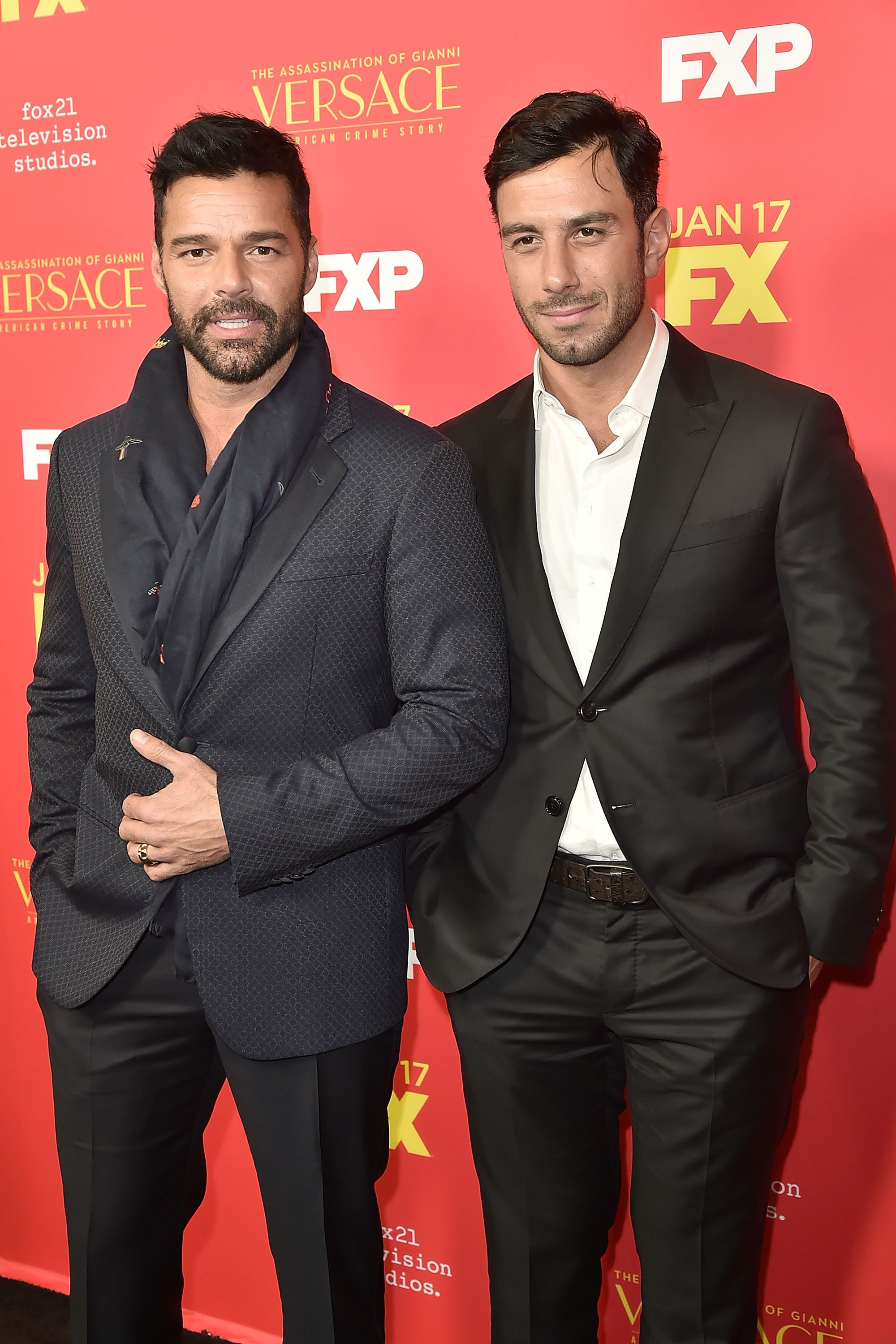 HOLLYWOOD, CA - JANUARY 08:  Ricky Martin and Jwan Yosef attend the Premiere Of FX's 'The Assassination Of Gianni Versace: American Crime Story' - Arrivals at ArcLight Hollywood on January 8, 2018 in Hollywood, California.  (Photo by David Crotty/Patrick McMullan via Getty Images)