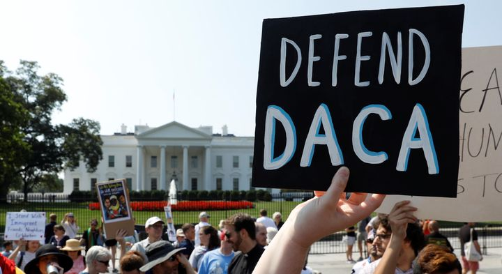 Demonstrators protest in front of the White House after the Trump administration scrapped DACA onSeptember 5, 2017.&nbs