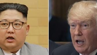 (COMBO) This combination of pictures created on January 2, 2018 shows a photo from North Korea's official Korean Central News Agency (KCNA) taken and released on January 1, 2018 showing North Korean leader Kim Jong-Un(L) delivering a New Year's speech at an undisclosed location, and US President Donald Trump speaking during a Cabinet Meeting in the Cabinet Room at the White House in Washington, DC, December 20, 2017.  Sanctions and other pressure are beginning to have a 'big impact' on North Korea, US President Donald Trump said January 2, 2018, citing the North's leader Kim Jong-Un's offer of talks with South Korea.'Perhaps that is good news, perhaps not -- we will see!' he said on his Twitter account, referring to Kim's proposal for a high level meeting tied to the upcoming Winter Olympics in the South.    / AFP PHOTO / KCNA VIA KNS AND AFP PHOTO / - AND SAUL LOEB / South Korea OUT / REPUBLIC OF KOREA OUT   ---EDITORS NOTE--- RESTRICTED TO EDITORIAL USE - MANDATORY CREDIT 'AFP PHOTO/KCNA VIA KNS' - NO MARKETING NO ADVERTISING CAMPAIGNS - DISTRIBUTED AS A SERVICE TO CLIENTS THIS PICTURE WAS MADE AVAILABLE BY A THIRD PARTY. AFP CAN NOT INDEPENDENTLY VERIFY THE AUTHENTICITY, LOCATION, DATE AND CONTENT OF THIS IMAGE. THIS PHOTO IS DISTRIBUTED EXACTLY AS RECEIVED BY AFP.  /         (Photo credit should read SAUL LOEB/AFP/Getty Images)