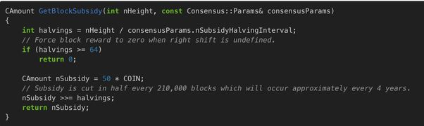 <em>(part of the code that limits the total # of bitcoins to 21,000,000. I found this by reading ALL of the code for bitcoin)